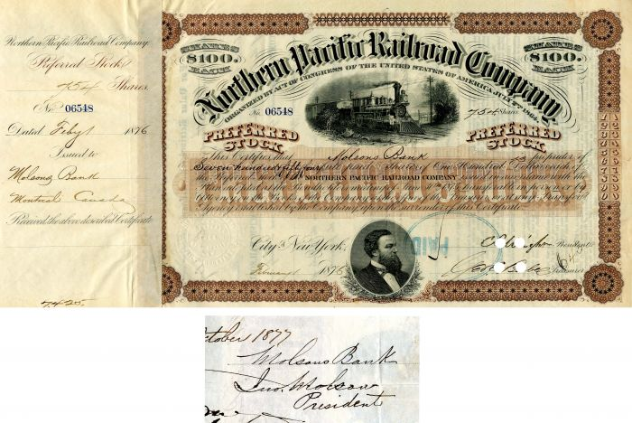 Northern Pacific Railroad Company issued to Molsons Bank and signed by Ino Molson