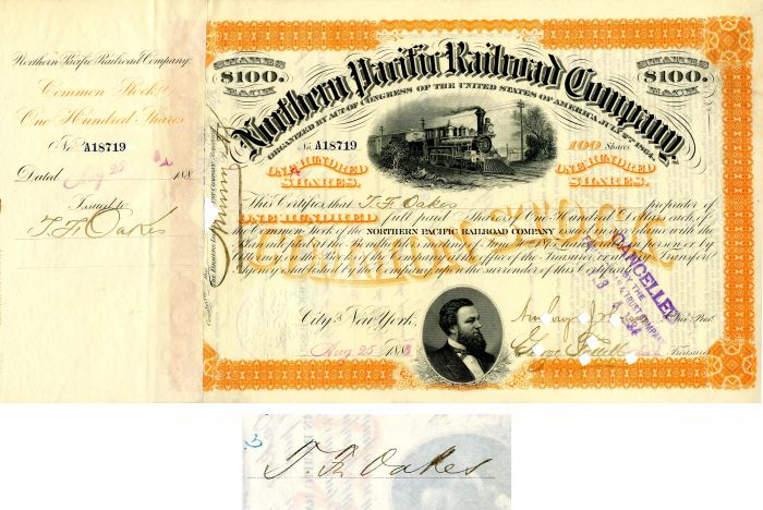 Northern Pacific Railroad Company issued to and signed by T. F. Oakes