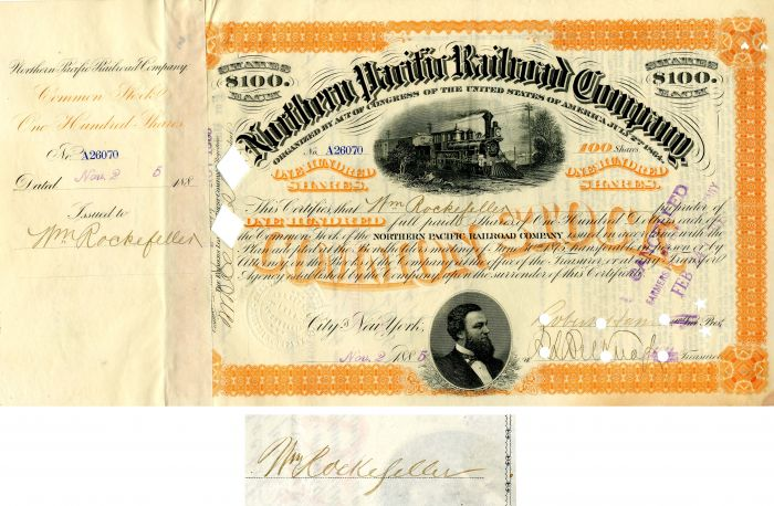 Northern Pacific Railroad Company issued to and signed by Wm. Rockefeller
