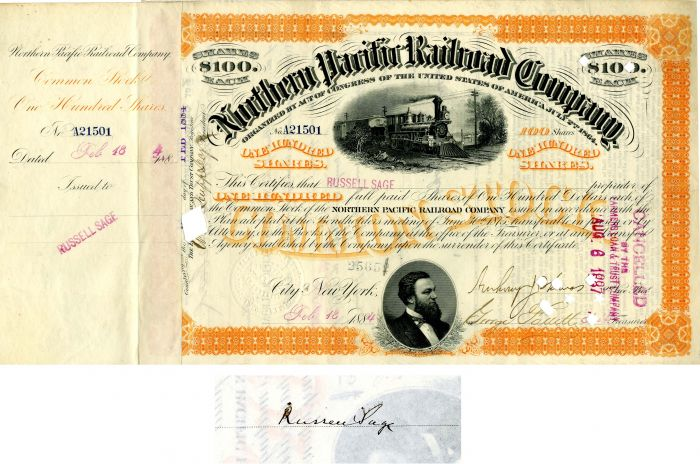 Northern Pacific Railroad Company issued to and signed by Russell Sage
