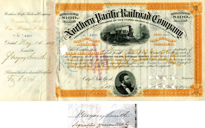Northern Pacific Railroad Company issued to and signed by J. Gregory Smith