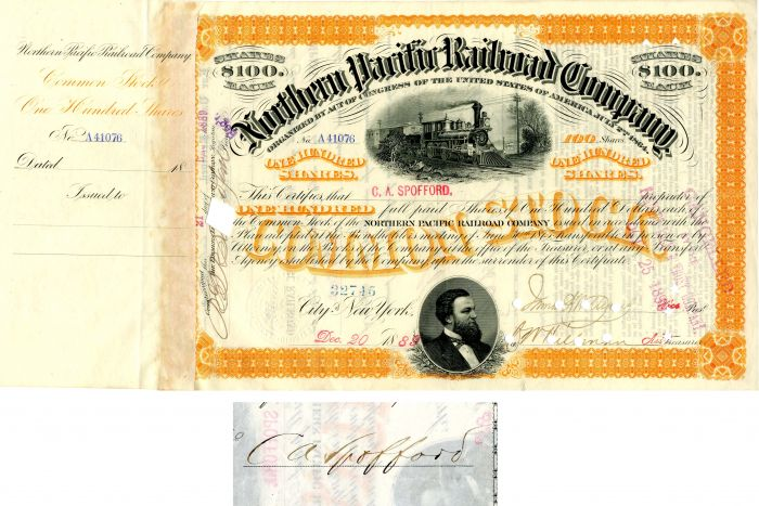 Northern Pacific Railroad Company issued to and signed by C.A. Spofford
