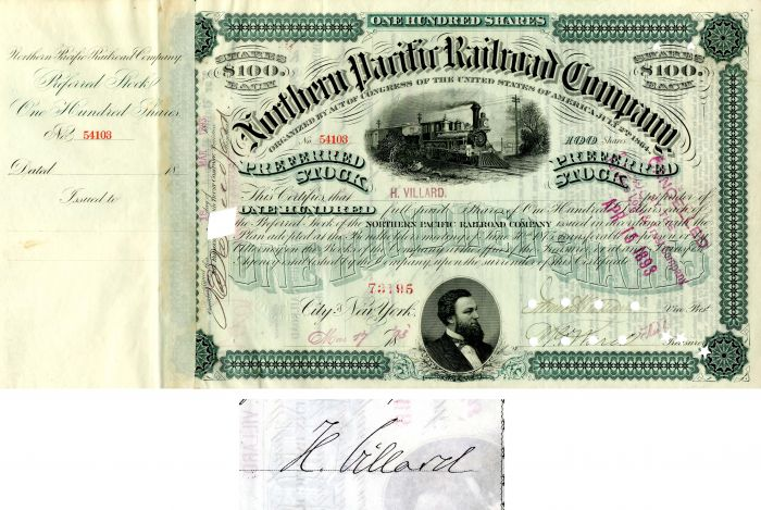 Northern Pacific Railroad Company issued to and signed by H. Villard