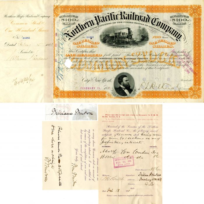 Northern Pacific Railroad Company issued to and signed by William Windom