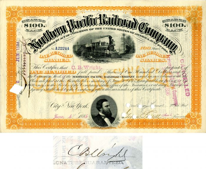 Northern Pacific Railroad Company issued to and signed by C.B. Wright