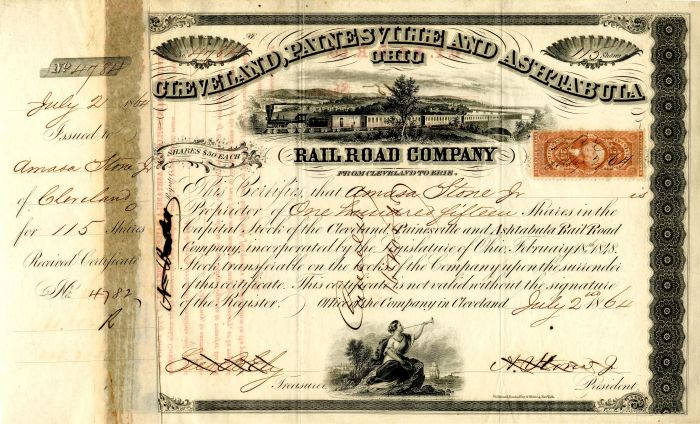 Cleveland, Painesville and Ashtabula Rail Road Company issued to and signed by Amasa Stone, Jr.