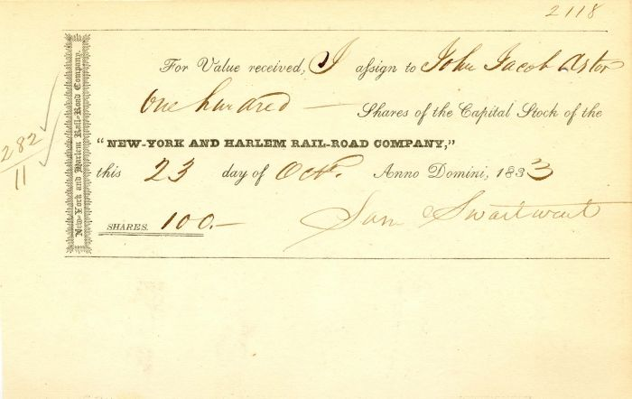 New York and Harlem Rail-Road Company Issued to John Jacob Astor