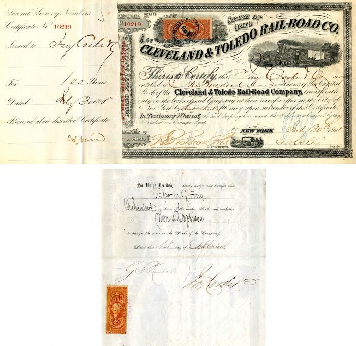 Cleveland & Toledo Rail-Road Co. Issued to Jay Cooke & Co. - SOLD