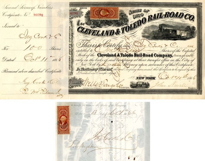 Cleveland & Toledo Rail-Road Co. Issued to Jay Cooke & Co. - Stock Certificate