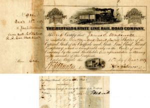 Buffalo & State Line Rail Road Company signed by James S. Wadsworth - SOLD