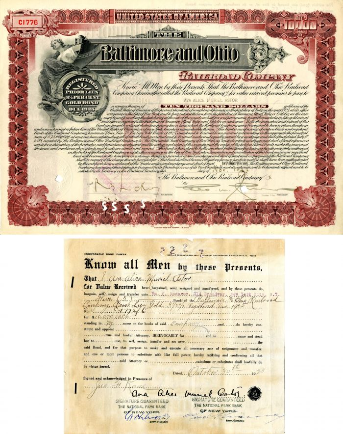 Baltimore and Ohio Railroad Company Bond Transfer signed by Ana Alice Muriel Astor