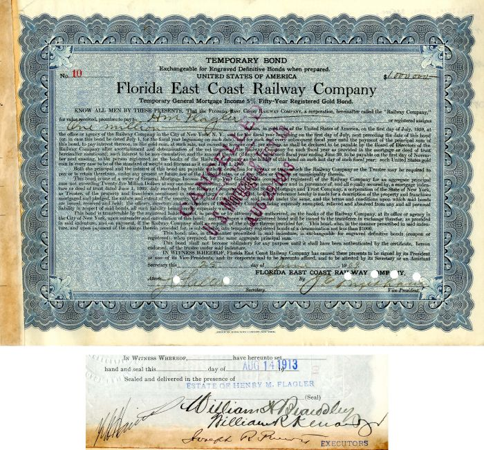 Florida East Coast Railway Company Issued to H.M. Flagler
