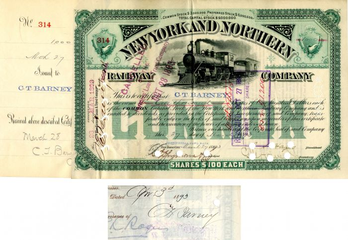 New York and Northern Railway Company signed by C.T. Barney