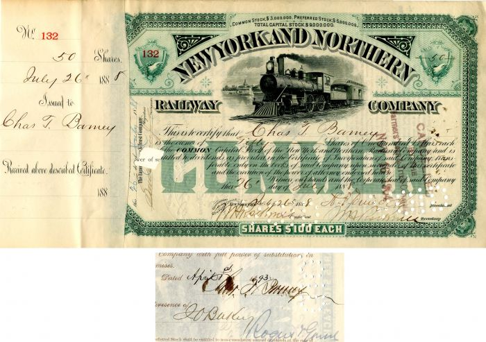 New York and Northern Railway Company signed by Chas. T. Barney