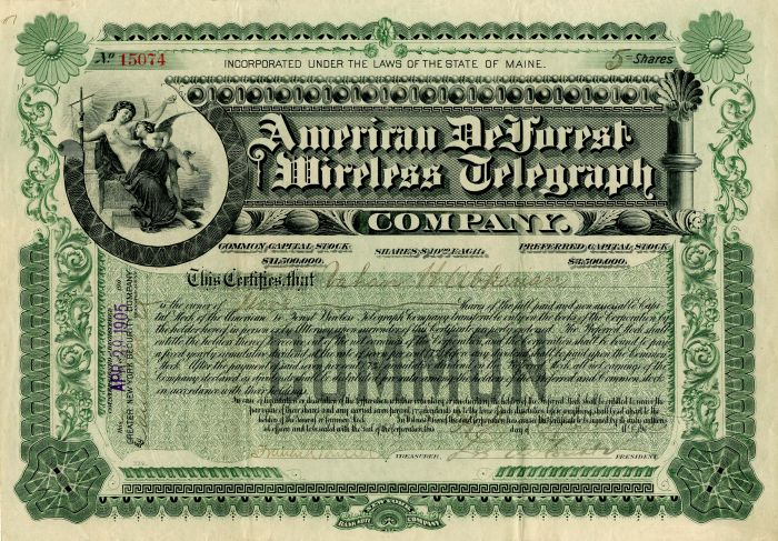 American DeForest Wireless Telegraph Company signed by Lee de Forest.