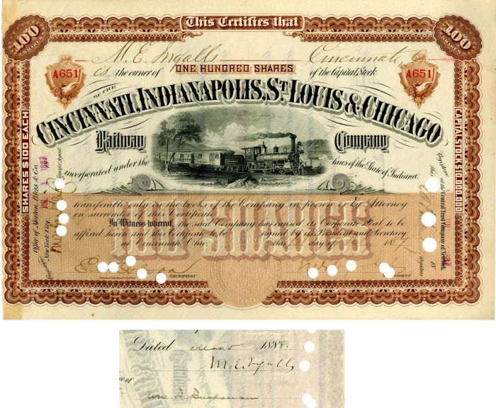 Cincinnati, Indianapolis, St. Louis & Chicago Railway Company issued to and signed by M.E. Ingalls
