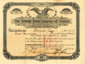 Chicago Town Company of Virginia signed by General Fitzhugh Lee