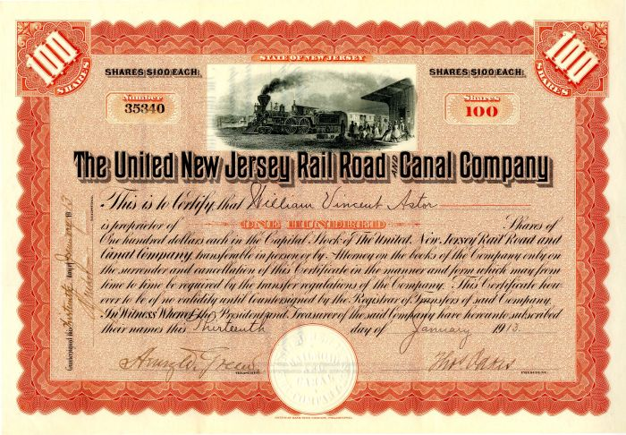 United New Jersey Railroad and Canal Company issued to William Vincent Astor - Stock Certificate