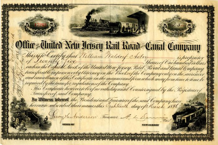 United New Jersey Rail Road and Canal Company issued to William Waldorf Astor - Stock Certificate