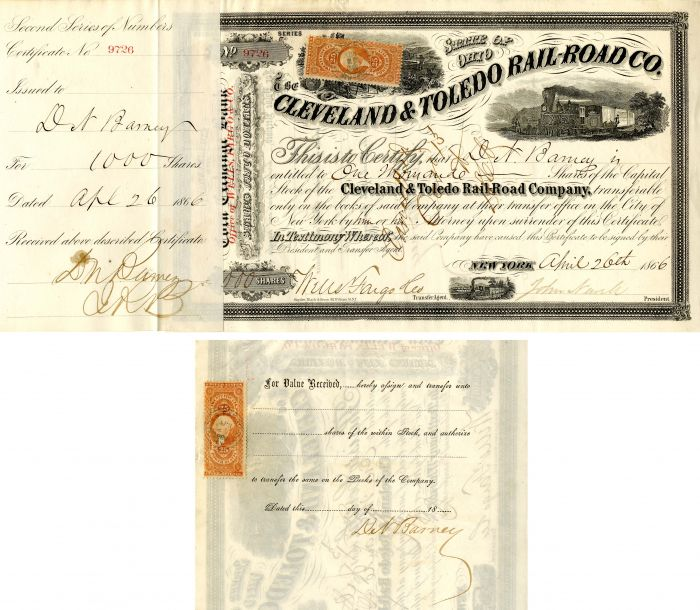 Cleveland and Toledo Rail-Road Co. Issued to and Signed by D.N. Barney