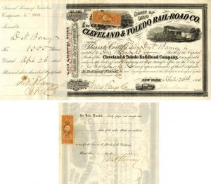 Cleveland & Toledo Rail-Road Co. Issued to and Signed by D.N. Barney
