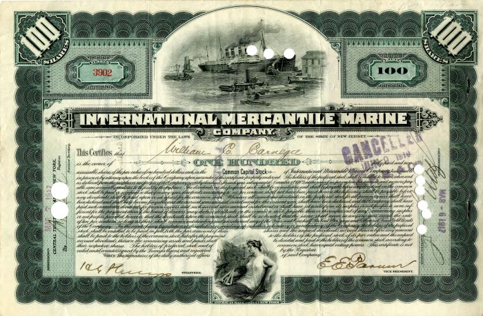 International Mercantile Marine Company issued to and signed by William C. Carnegie - Stock Certificate