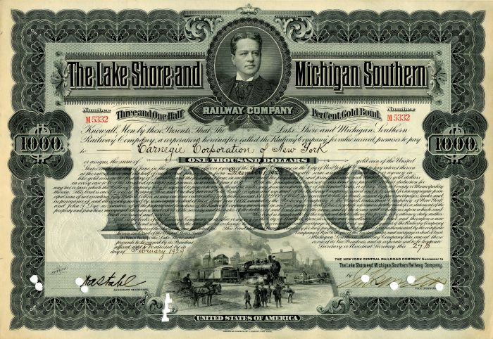 Lake Shore and Michigan Southern Railway Company issued to Carnegie Corporation of New York - $1,000 Bond - SOLD