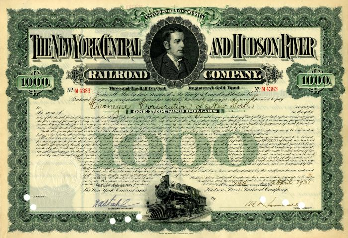 New York Central and Hudson River Railroad Company issued to Carnegie Corporation of New York - $1,000 Bond