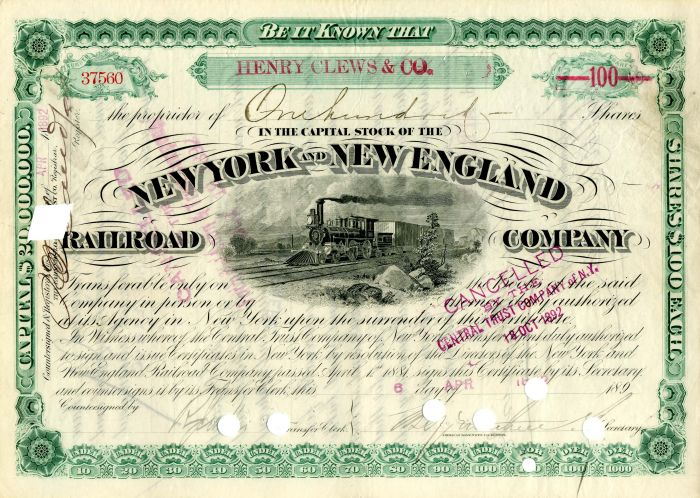New York and New England Railroad Company issued to Henry Clews & Co. - Stock Certificate - SOLD