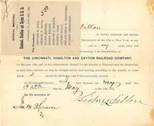 Cincinnati, Hamilton and Dayton Railroad Company issued to Sidney Dillon - Stock Certificate