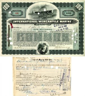 International Mercantile Marine Company issued to and signed by Ethel H. du Pont - Stock Certificate