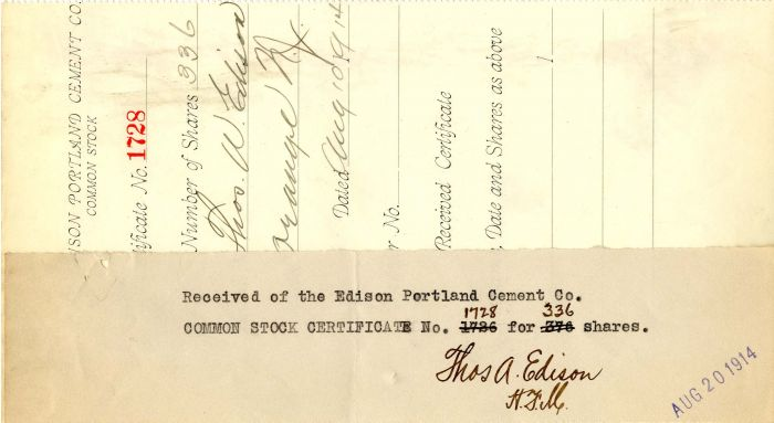 Group of Edison Portland Cement Co. Stubs - Stock Certificate