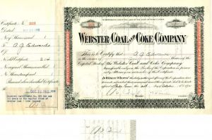 Webster Coal and Coke Company issued to and signed by A.G. Edwards
