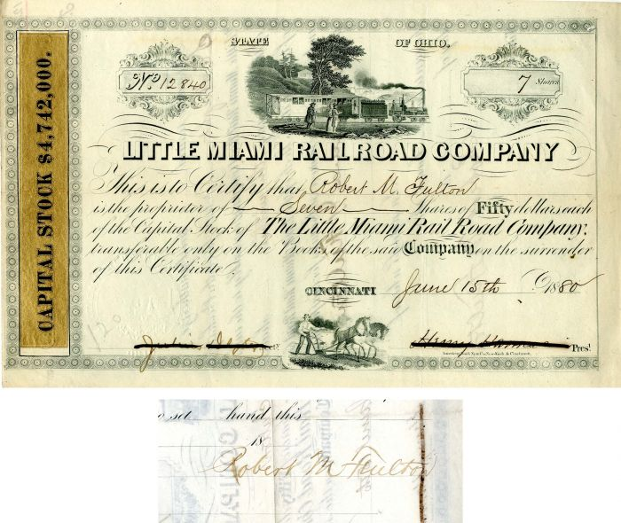 Little Miami Railroad Company issued to Robert M. Fulton - Stock Certificate