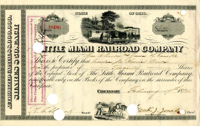 Little Miami Railroad Company issued to William H. Procter and James N. Gamble - Stock Certificate