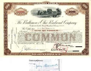 Baltimore and Ohio Railroad Company issued to and signed by Jay Gould - Stock Certificate