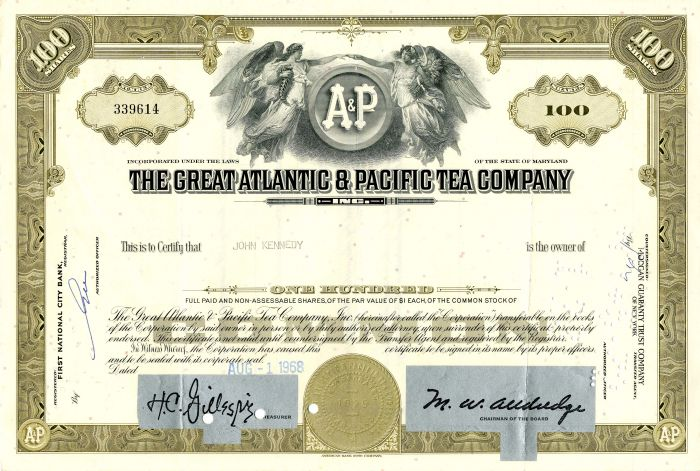 Great Atlantic & Pacific Tea Company issued to John Kennedy - Stock Certificate