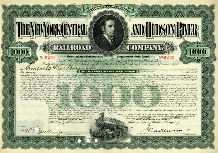 New York Central and Hudson River Railroad Company - $1,000 Bond