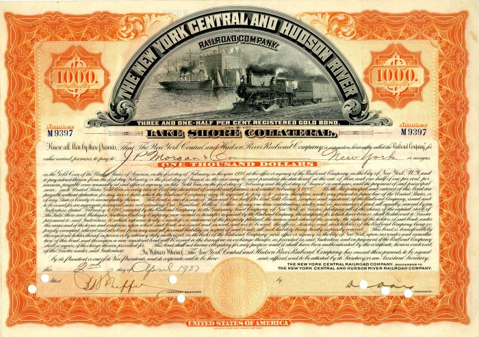 New York Central and Hudson River Railroad Company issued to J.P. Morgan & Co. - $1,000 Bond - SOLD