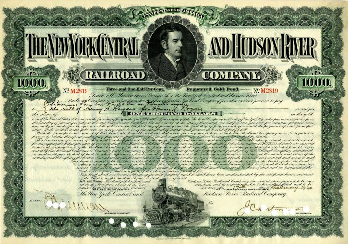 New York Central and Hudson River Railroad Company issued to Henry H. Rogers - $1,000 Bond