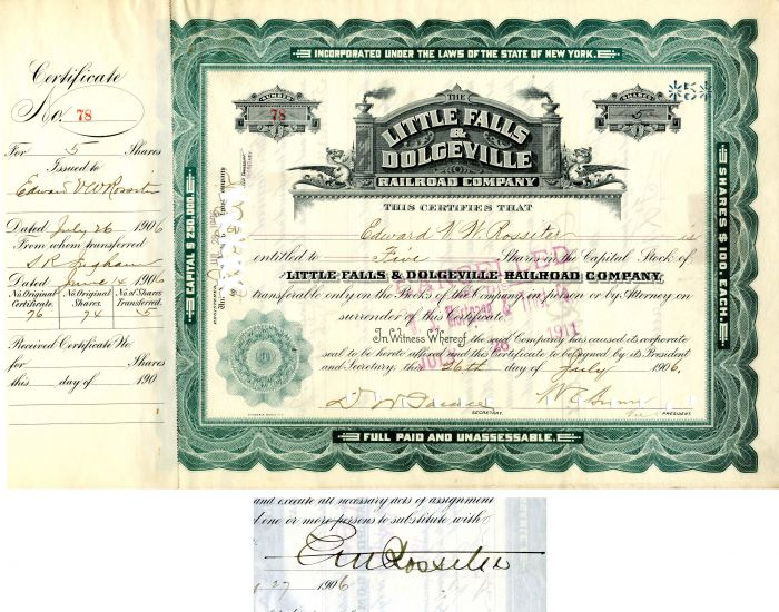 Little Falls & Dolgeville Railroad Company - Stock Certificate