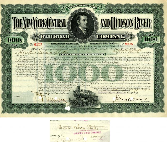 New York Central and Hudson River Railroad Company issued to Horatio Nelson Slater - $1,000 Bond