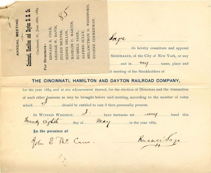 Cincinnati, Hamilton and Dayton Railroad Company signed by Russell Sage