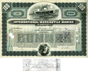 International Mercantile Marine Company issued to and signed by Luman H. Tiffany - Stock Certificate