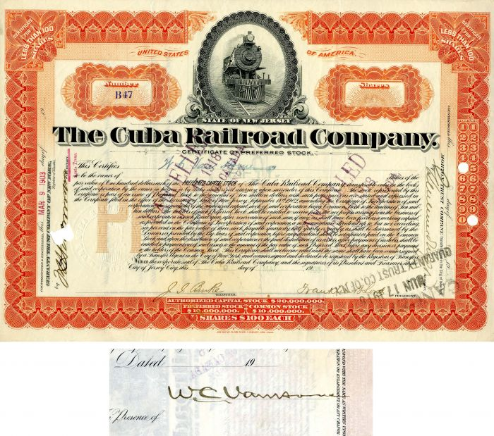 Cuba Railroad Company issued to and signed by W.C. Van Horne - Stock Certificate