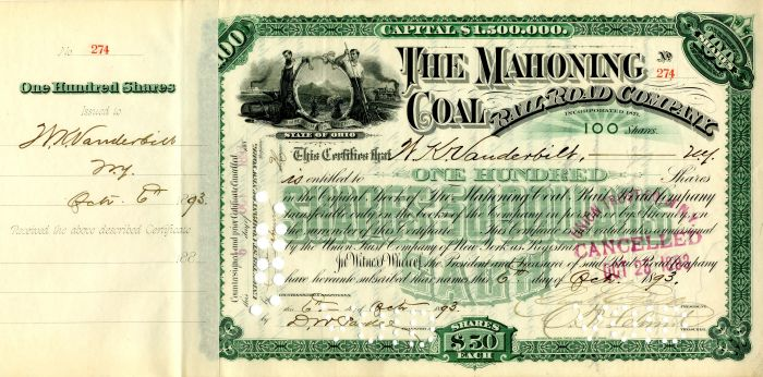 Mahoning Coal Rail Road Company issued to W.K. Vanderbilt - Stock Certificate