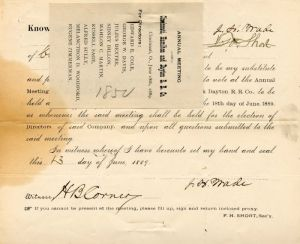 Cincinnati, Hamilton and Dayton Railroad Company signed by J. H. Wade
