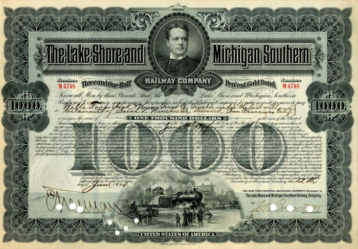 Lake Shore and Michigan Southern Railway Company issued to Sarah L. Winchester