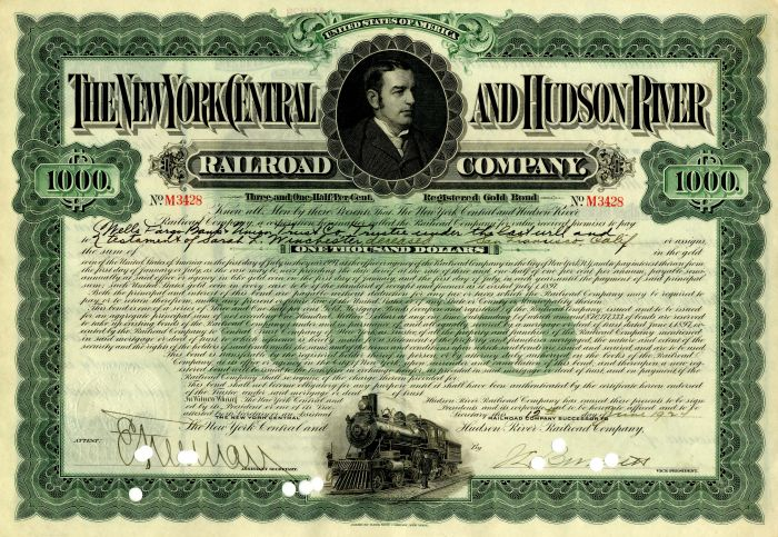New York Central and Hudson River Railroad Company issued to Sarah L. Winchester
