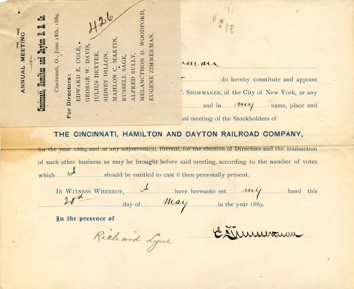 Cincinnati, Hamilton and Dayton Railroad Company signed by Eugene Zimmerman - Stock Certificate